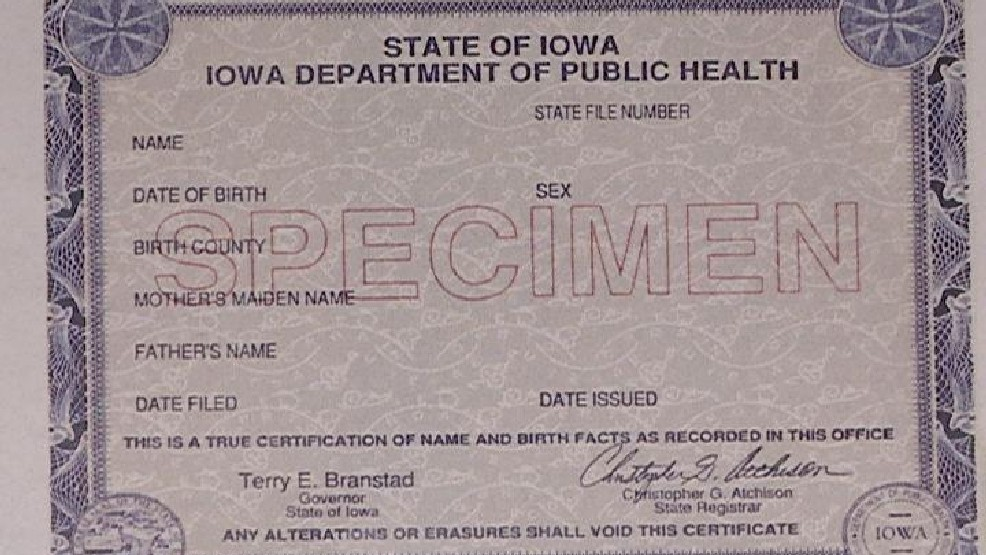 copy of birth certificate iowa